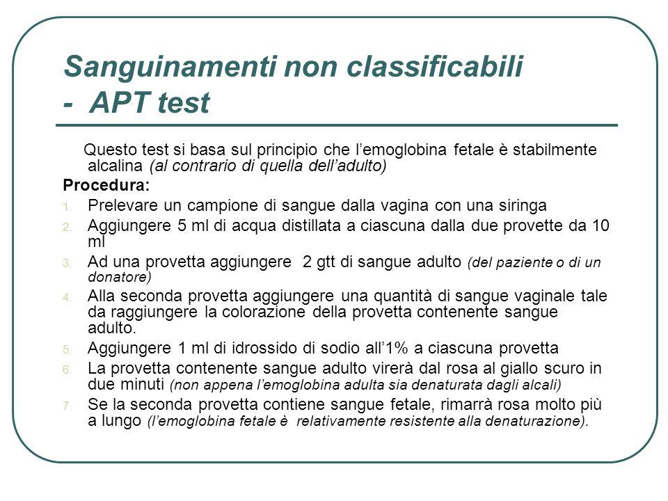 Sanguinamenti non classificabili - APT test Questo test si basa sul principio che lemoglobina fetale è stabilmente alcalina (al contrario di quella de