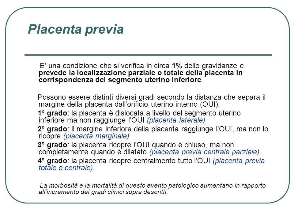 Placenta previa E una condizione che si verifica in circa 1% delle gravidanze e prevede la localizzazione parziale o totale della placenta in corrispo