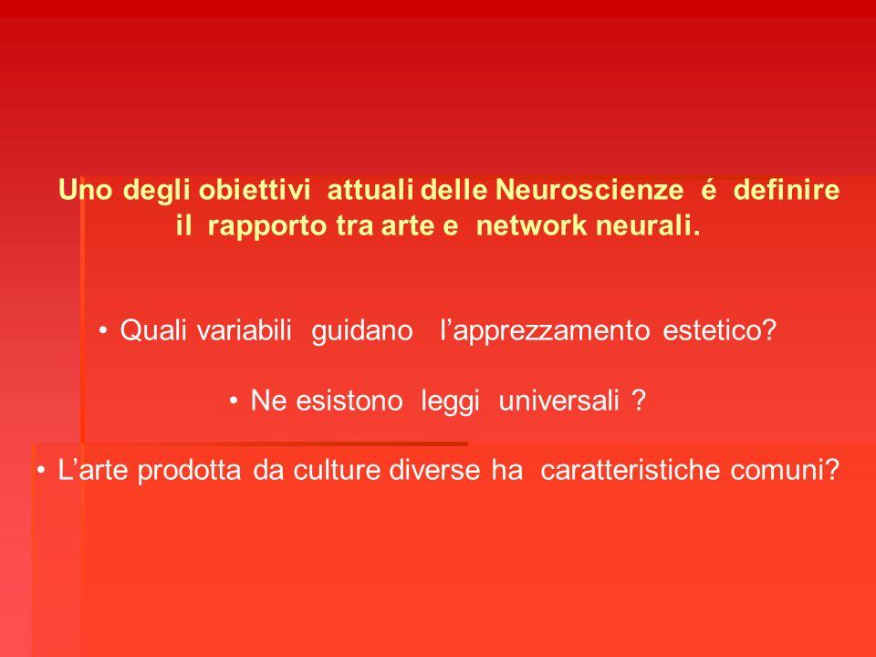 Uno degli obiettivi attuali delle Neuroscienze é definire il rapporto tra arte e network neurali. Quali variabili guidano lapprezzamento estetico? Ne