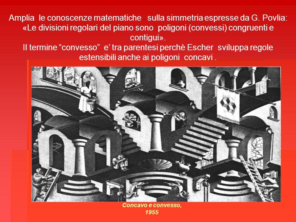 Amplia le conoscenze matematiche sulla simmetria espresse da G. Povlia: «Le divisioni regolari del piano sono poligoni (convessi) congruenti e contigu