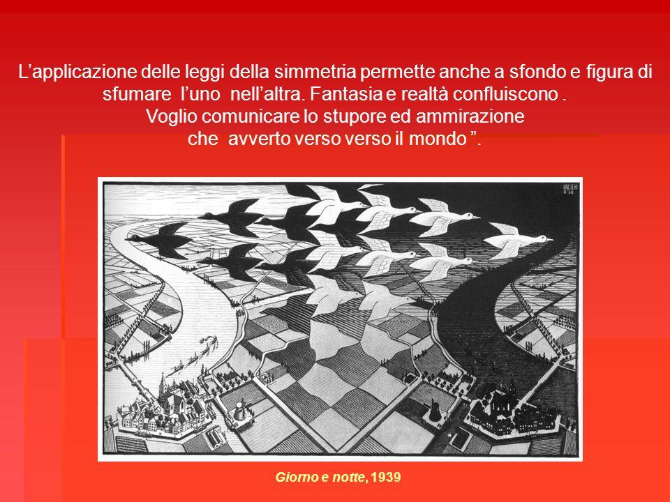 Giorno e notte, 1939 Lapplicazione delle leggi della simmetria permette anche a sfondo e figura di sfumare luno nellaltra. Fantasia e realtà confluisc