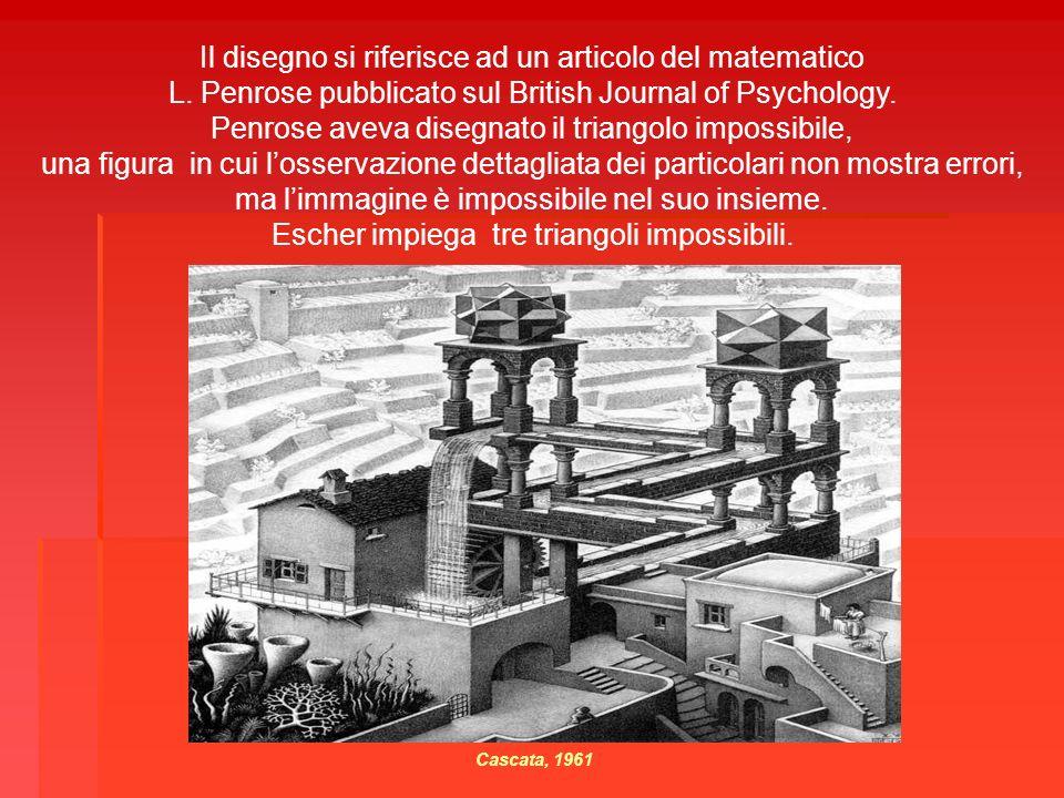 Il disegno si riferisce ad un articolo del matematico L. Penrose pubblicato sul British Journal of Psychology. Penrose aveva disegnato il triangolo im