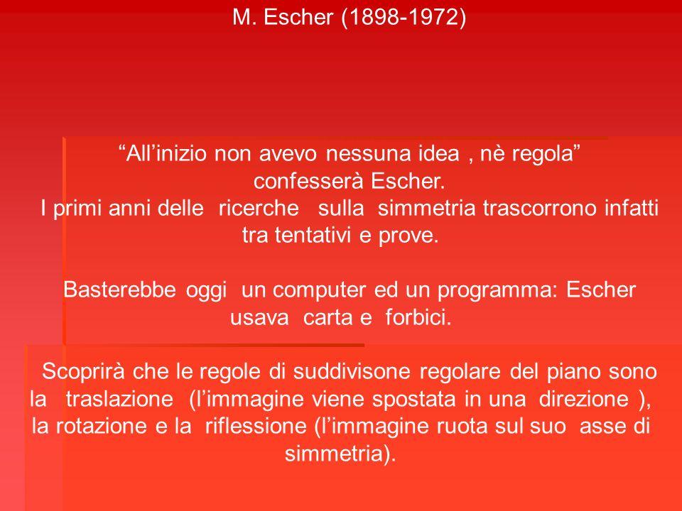 M. Escher (1898-1972) Allinizio non avevo nessuna idea, nè regola confesserà Escher. I primi anni delle ricerche sulla simmetria trascorrono infatti t
