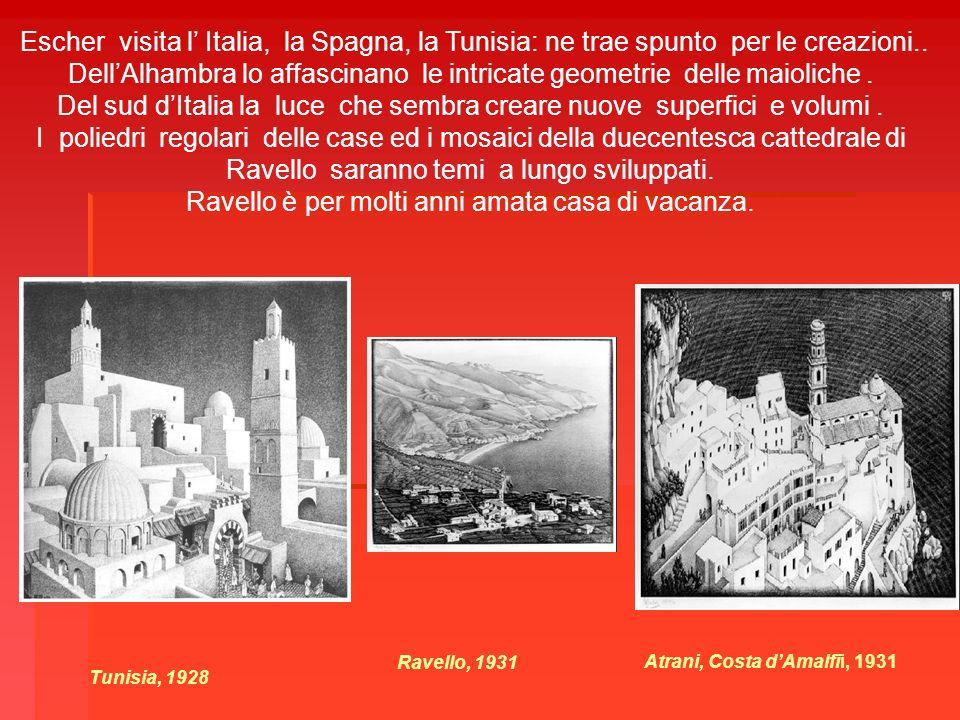 Escher visita l Italia, la Spagna, la Tunisia: ne trae spunto per le creazioni.. DellAlhambra lo affascinano le intricate geometrie delle maioliche. D