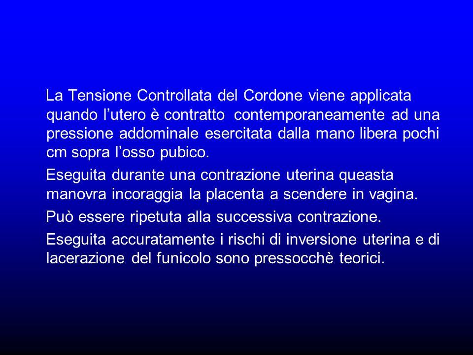 La Tensione Controllata del Cordone viene applicata quando lutero è contratto contemporaneamente ad una pressione addominale esercitata dalla mano lib
