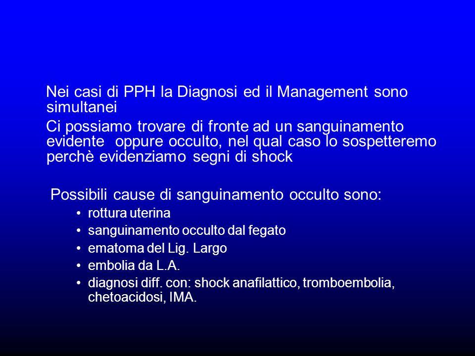 Nei casi di PPH la Diagnosi ed il Management sono simultanei Ci possiamo trovare di fronte ad un sanguinamento evidente oppure occulto, nel qual caso