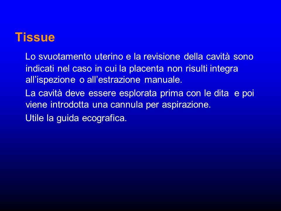 Tissue Lo svuotamento uterino e la revisione della cavità sono indicati nel caso in cui la placenta non risulti integra allispezione o allestrazione m