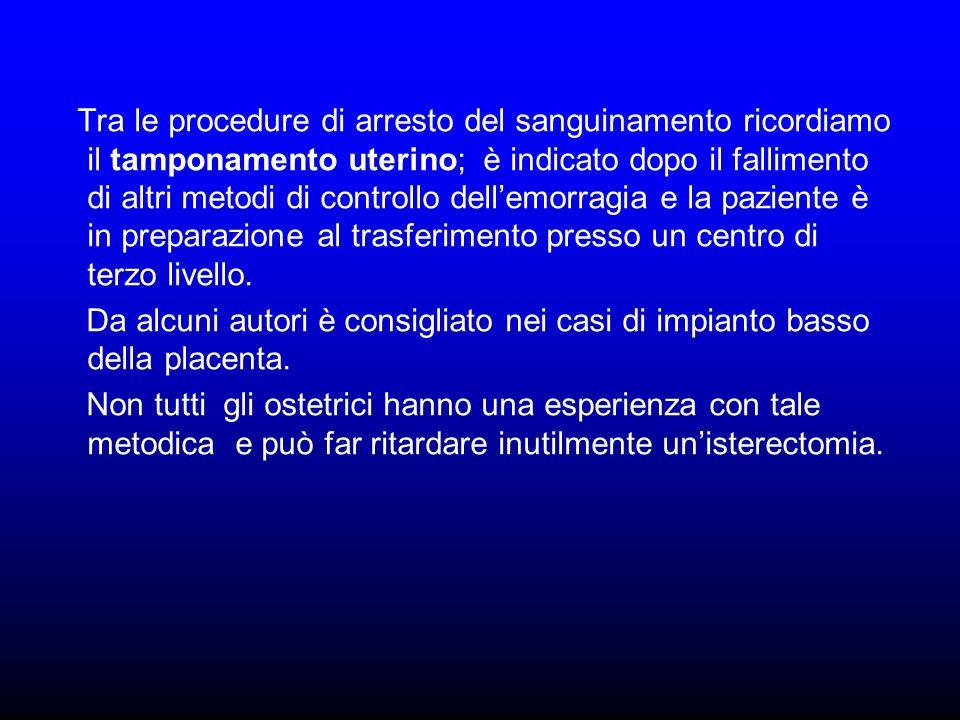 Tra le procedure di arresto del sanguinamento ricordiamo il tamponamento uterino; è indicato dopo il fallimento di altri metodi di controllo dellemorr