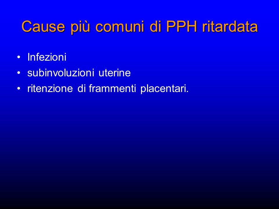 Cause più comuni di PPH ritardata Infezioni subinvoluzioni uterine ritenzione di frammenti placentari.