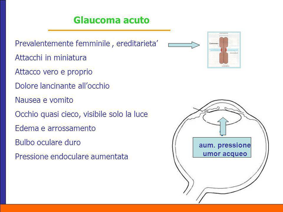 Pressione Glaucoma acuto Prevalentemente femminile, ereditarieta Attacchi in miniatura Attacco vero e proprio Dolore lancinante allocchio Nausea e vom
