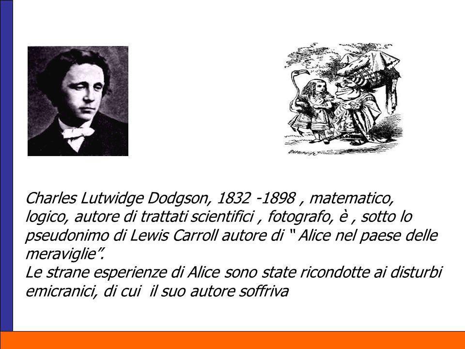 Charles Lutwidge Dodgson, 1832 -1898, matematico, logico, autore di trattati scientifici, fotografo, è, sotto lo pseudonimo di Lewis Carroll autore di