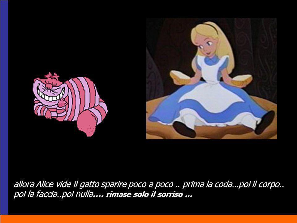 allora Alice vide il gatto sparire poco a poco.. prima la coda…poi il corpo.. poi la faccia..poi nulla…. rimase solo il sorriso …