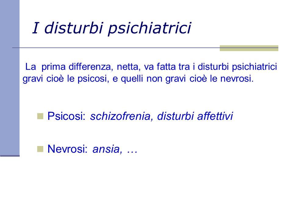 I disturbi psichiatrici Psicosi: schizofrenia, disturbi affettivi Nevrosi: ansia, … La prima differenza, netta, va fatta tra i disturbi psichiatrici g