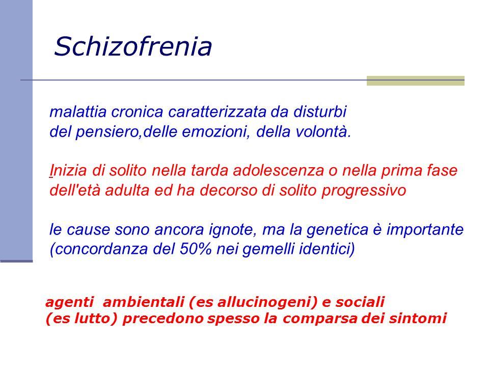Schizofrenia malattia cronica caratterizzata da disturbi del pensiero,delle emozioni, della volontà. Inizia di solito nella tarda adolescenza o nella