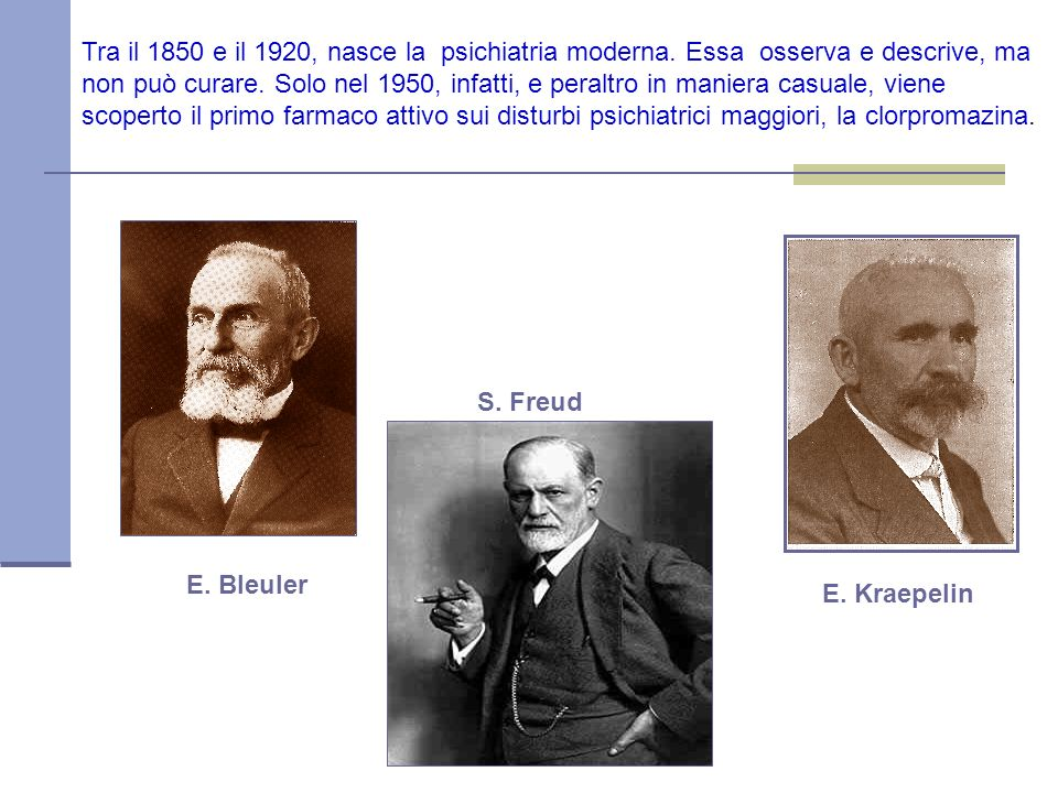 E.Bleuler E. Kraepelin S. Freud Tra il 1850 e il 1920, nasce la psichiatria moderna.
