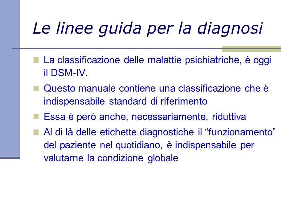 Le linee guida per la diagnosi La classificazione delle malattie psichiatriche, è oggi il DSM-IV. Questo manuale contiene una classificazione che è in