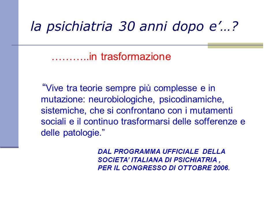 la psichiatria 30 anni dopo e…? ………..in trasformazione Vive tra teorie sempre più complesse e in mutazione: neurobiologiche, psicodinamiche, sistemich