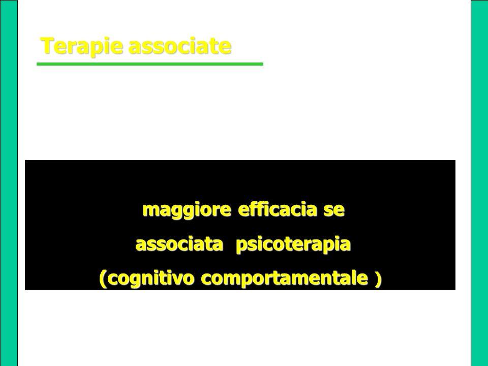maggiore efficacia se maggiore efficacia se associata psicoterapia associata psicoterapia (cognitivo comportamentale ) Terapie associate Terapie assoc