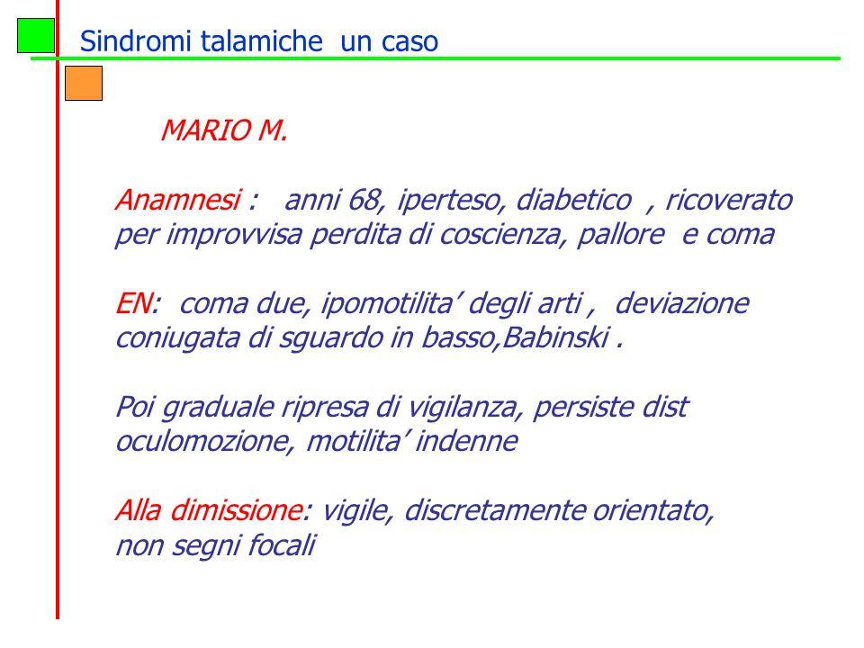 MARIO M. Anamnesi : anni 68, iperteso, diabetico, ricoverato per improvvisa perdita di coscienza, pallore e coma EN: coma due, ipomotilita degli arti,
