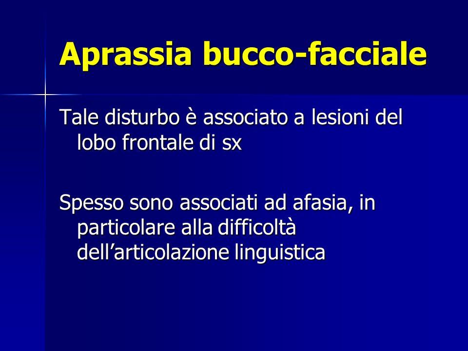 Aprassia bucco-facciale Tale disturbo è associato a lesioni del lobo frontale di sx Spesso sono associati ad afasia, in particolare alla difficoltà dellarticolazione linguistica