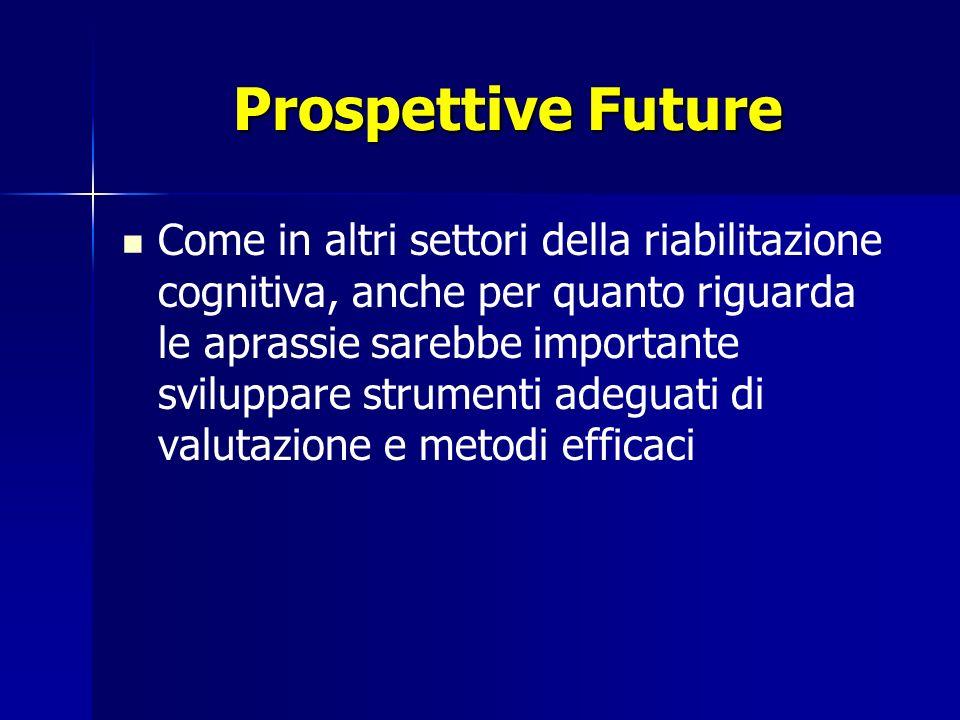 Prospettive Future Come in altri settori della riabilitazione cognitiva, anche per quanto riguarda le aprassie sarebbe importante sviluppare strumenti adeguati di valutazione e metodi efficaci