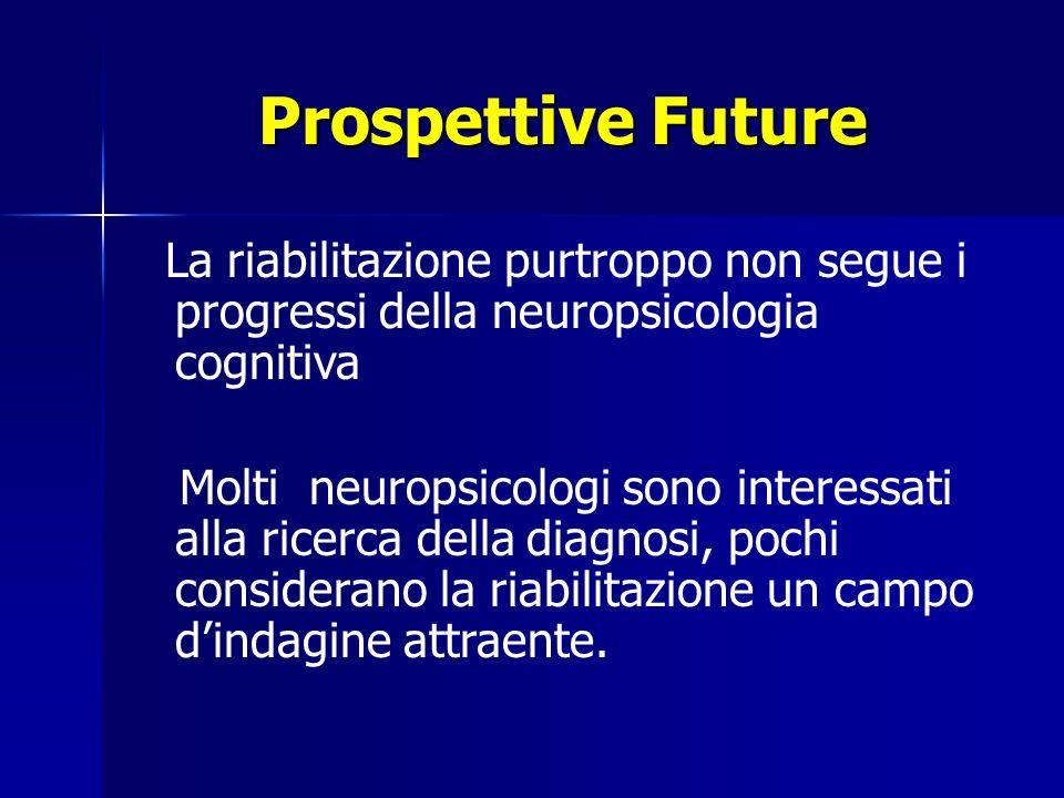Prospettive Future La riabilitazione purtroppo non segue i progressi della neuropsicologia cognitiva Molti neuropsicologi sono interessati alla ricerca della diagnosi, pochi considerano la riabilitazione un campo dindagine attraente.