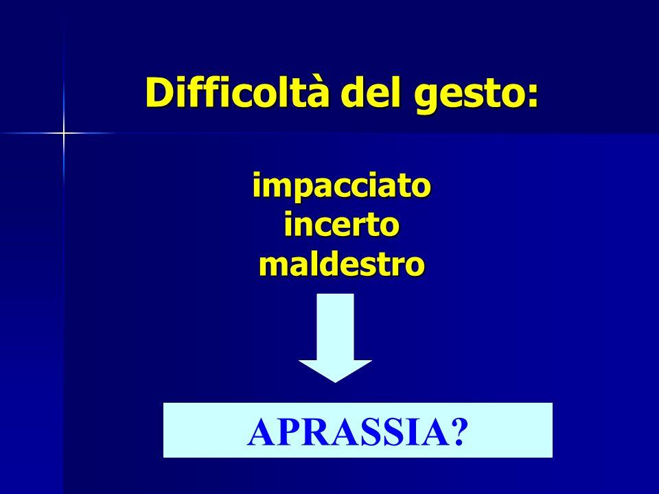 Difficoltà del gesto: impacciato incerto maldestro APRASSIA?
