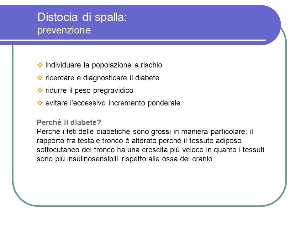 Distocia di spalla: prevenzione individuare la popolazione a rischio ricercare e diagnosticare il diabete ridurre il peso pregravidico evitare leccess