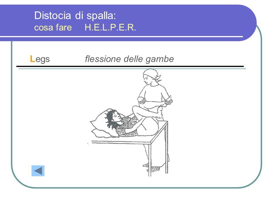 Distocia di spalla: cosa fare H.E.L.P.E.R. Legsflessione delle gambe