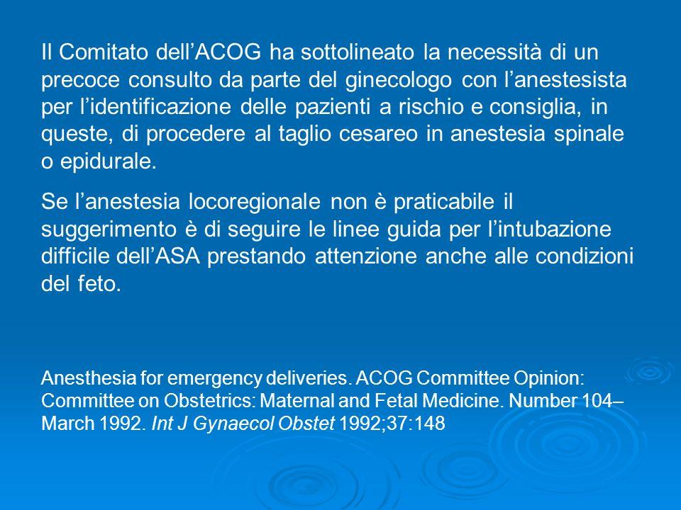 Il Comitato dellACOG ha sottolineato la necessità di un precoce consulto da parte del ginecologo con lanestesista per lidentificazione delle pazienti
