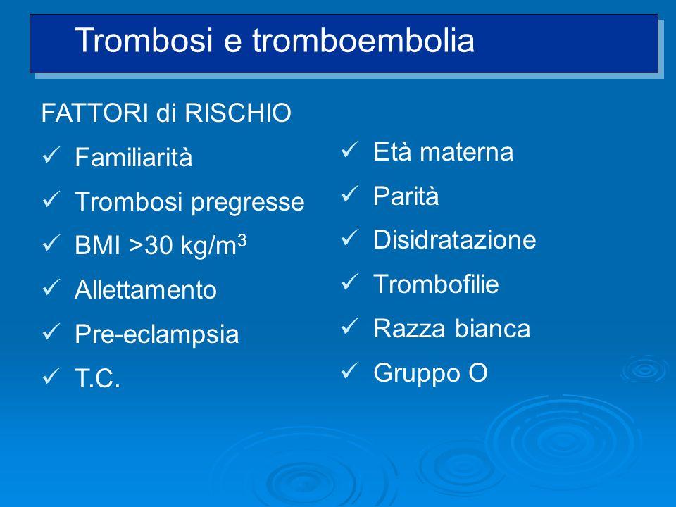 FATTORI di RISCHIO Familiarità Trombosi pregresse BMI >30 kg/m 3 Allettamento Pre-eclampsia T.C. Età materna Parità Disidratazione Trombofilie Razza b