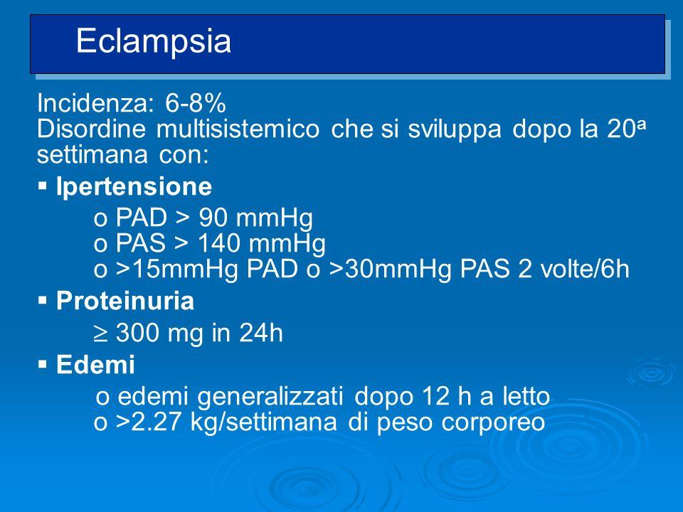 Incidenza: 6-8% Disordine multisistemico che si sviluppa dopo la 20 a settimana con: Ipertensione o PAD > 90 mmHg o PAS > 140 mmHg o >15mmHg PAD o >30