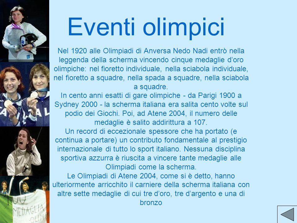 Eventi olimpici Nel 1920 alle Olimpiadi di Anversa Nedo Nadi entrò nella leggenda della scherma vincendo cinque medaglie doro olimpiche: nel fioretto