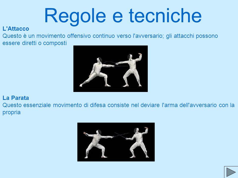 Regole e tecniche L'Attacco Questo è un movimento offensivo continuo verso l'avversario; gli attacchi possono essere diretti o composti La Parata Ques