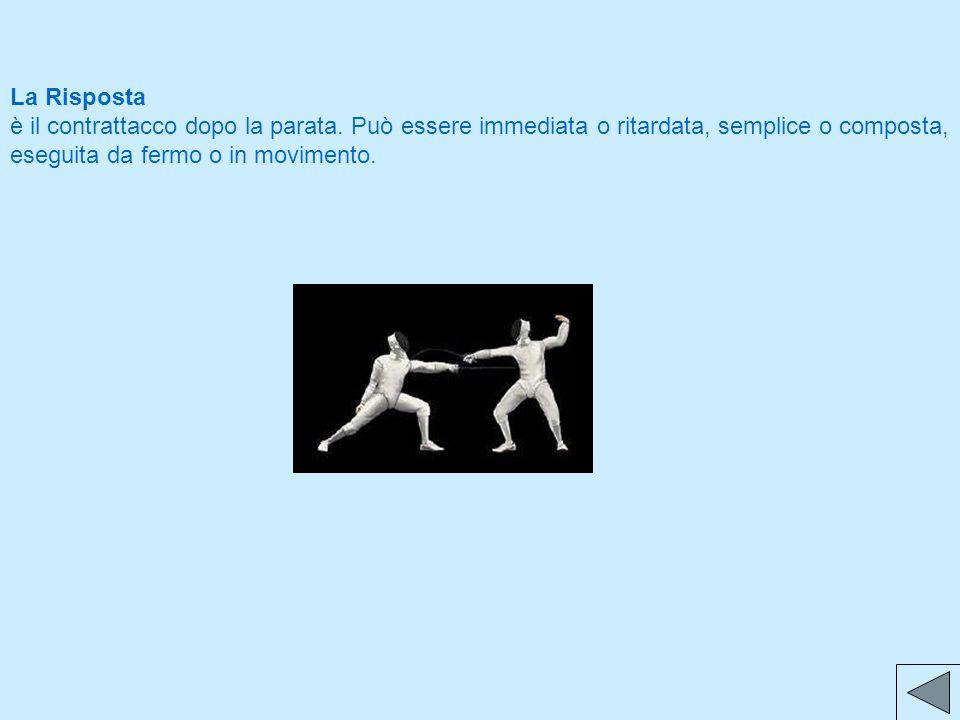La Risposta è il contrattacco dopo la parata. Può essere immediata o ritardata, semplice o composta, eseguita da fermo o in movimento.