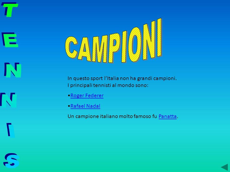 In questo sport lItalia non ha grandi campioni. I principali tennisti al mondo sono: Roger Federer Rafael Nadal Un campione italiano molto famoso fu P