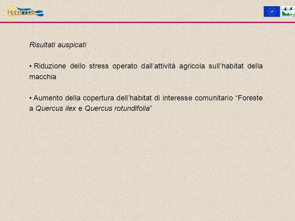 Risultati auspicati Riduzione dello stress operato dallattività agricola sullhabitat della macchia Aumento della copertura dellhabitat di interesse comunitario Foreste a Quercus ilex e Quercus rotundifolia