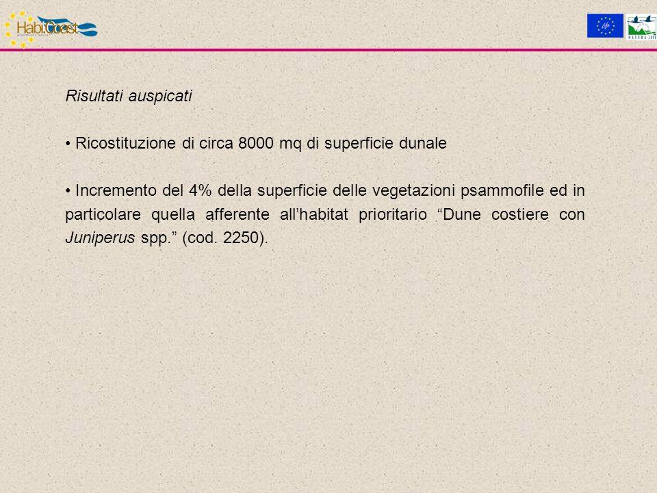 Risultati auspicati Ricostituzione di circa 8000 mq di superficie dunale Incremento del 4% della superficie delle vegetazioni psammofile ed in particolare quella afferente allhabitat prioritario Dune costiere con Juniperus spp.