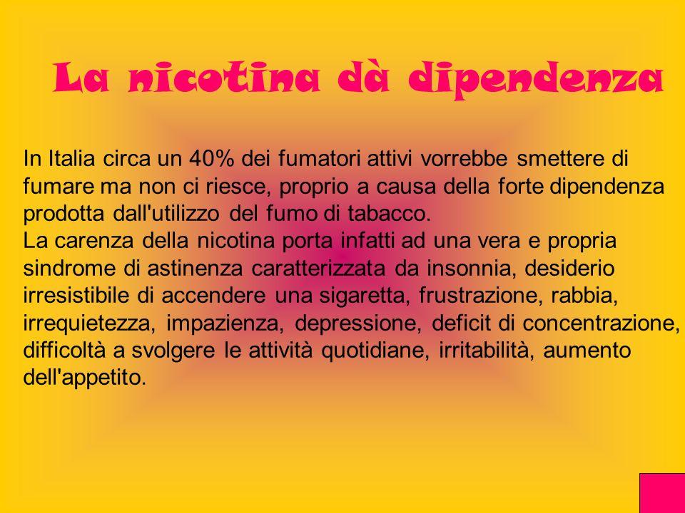 In Italia circa un 40% dei fumatori attivi vorrebbe smettere di fumare ma non ci riesce, proprio a causa della forte dipendenza prodotta dall'utilizzo