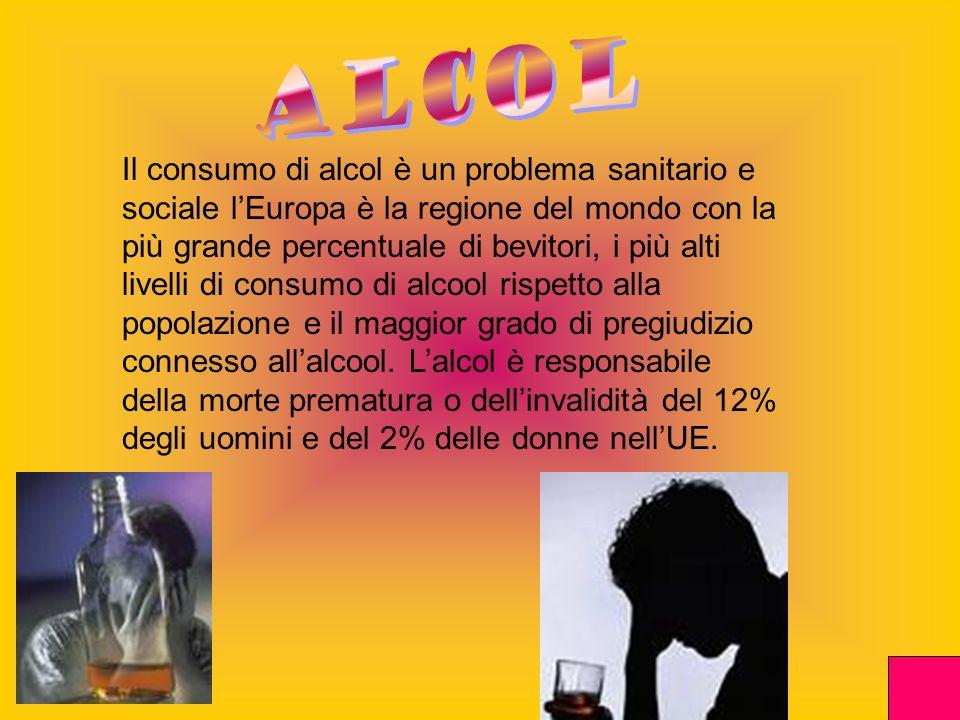 Il consumo di alcol è un problema sanitario e sociale lEuropa è la regione del mondo con la più grande percentuale di bevitori, i più alti livelli di