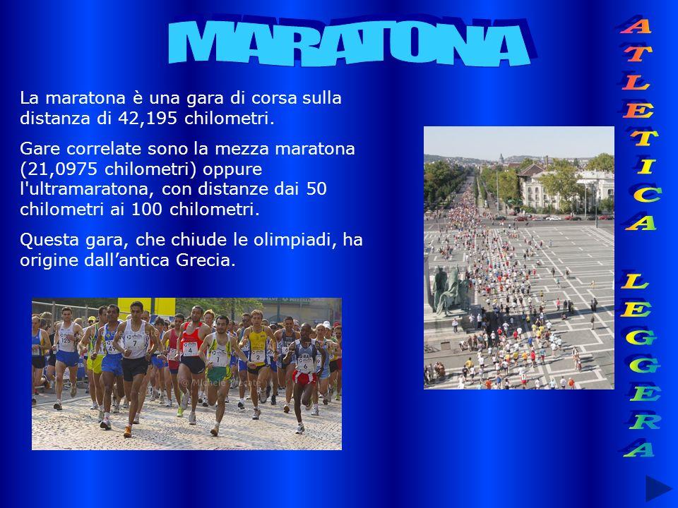 La maratona è una gara di corsa sulla distanza di 42,195 chilometri. Gare correlate sono la mezza maratona (21,0975 chilometri) oppure l'ultramaratona