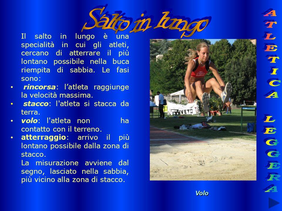 Il salto in lungo è una specialità in cui gli atleti, cercano di atterrare il più lontano possibile nella buca riempita di sabbia. Le fasi sono: rinco