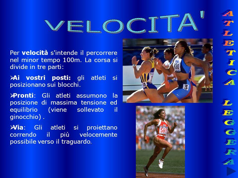 Per velocità s'intende il percorrere nel minor tempo 100m. La corsa si divide in tre parti: Ai vostri posti: gli atleti si posizionano sui blocchi. Pr