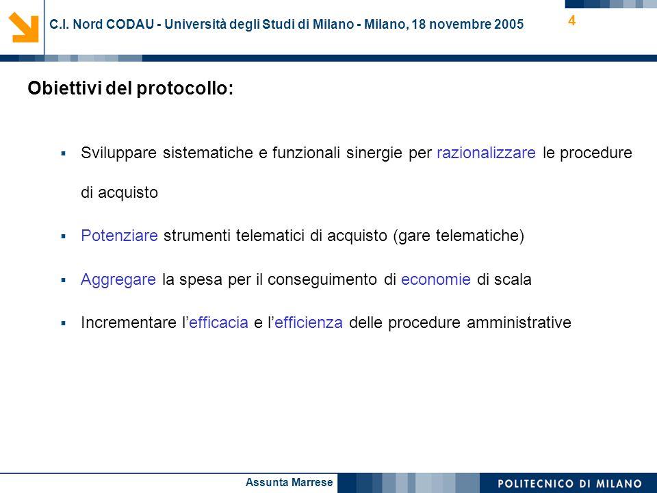 Assunta Marrese 4 Obiettivi del protocollo: Sviluppare sistematiche e funzionali sinergie per razionalizzare le procedure di acquisto Potenziare strum