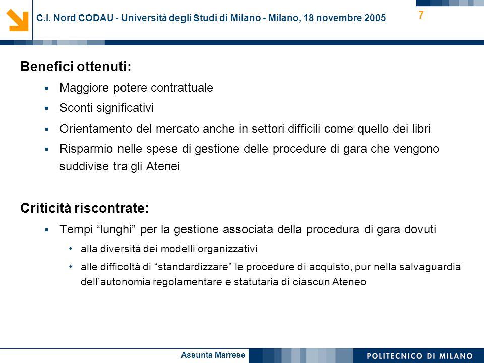 Assunta Marrese 7 C.I. Nord CODAU - Università degli Studi di Milano - Milano, 18 novembre 2005 Benefici ottenuti: Maggiore potere contrattuale Sconti