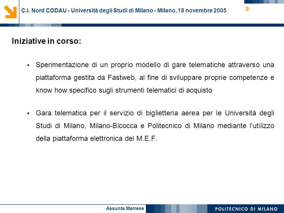 Assunta Marrese 9 C.I. Nord CODAU - Università degli Studi di Milano - Milano, 18 novembre 2005 Iniziative in corso: Sperimentazione di un proprio mod