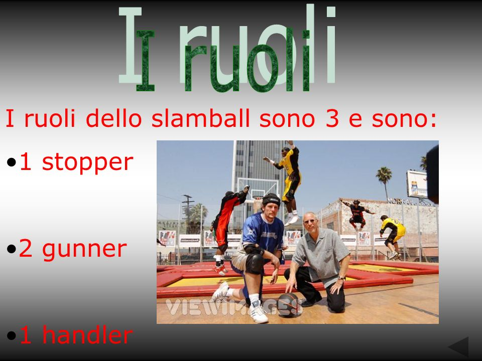 I ruoli dello slamball sono 3 e sono: 1 stopper 2 gunner 1 handler