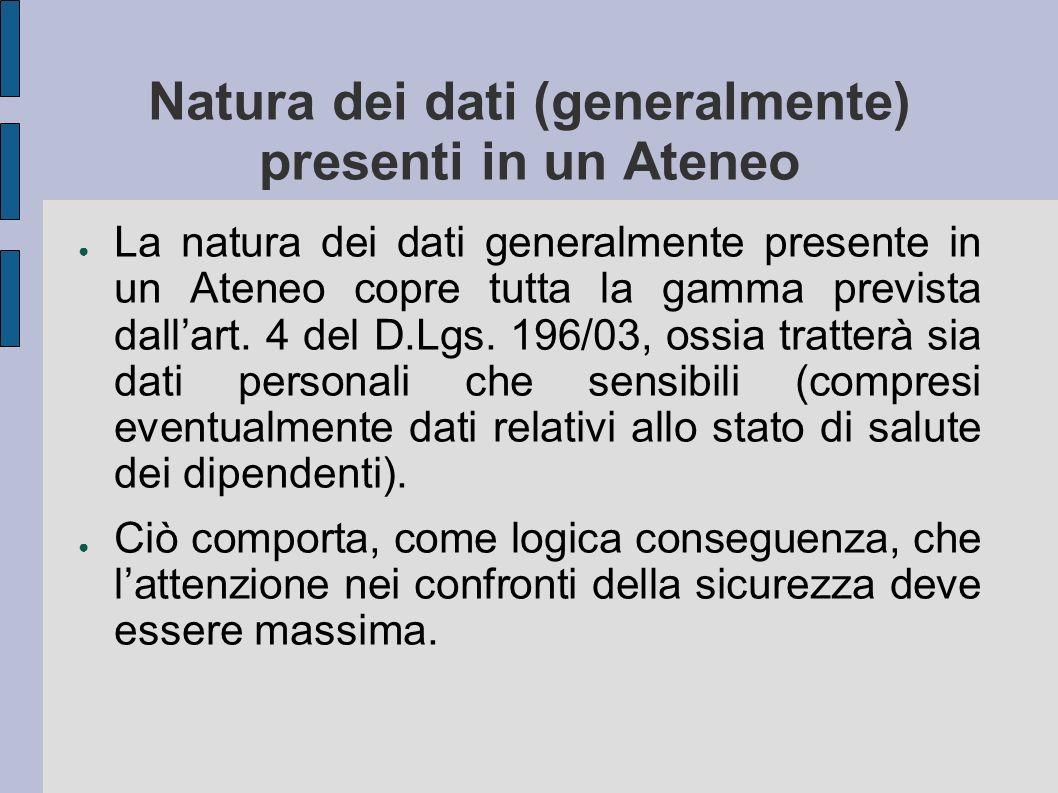 Natura dei dati (generalmente) presenti in un Ateneo La natura dei dati generalmente presente in un Ateneo copre tutta la gamma prevista dallart. 4 de