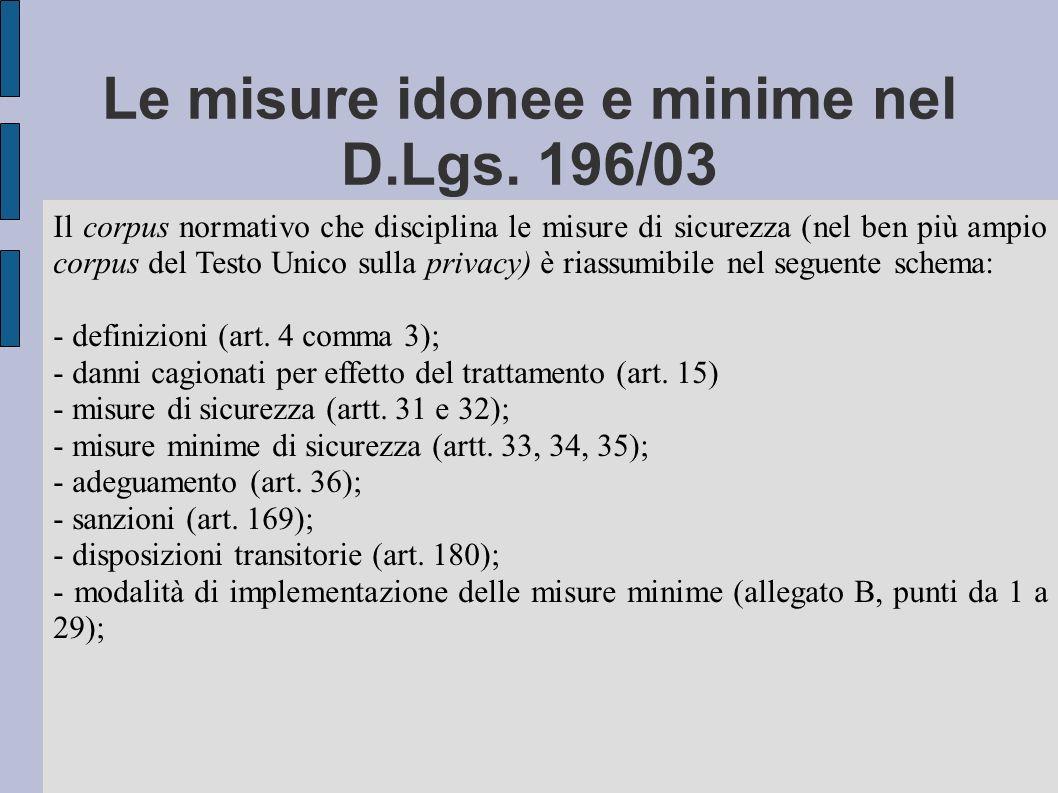 Le misure idonee e minime nel D.Lgs. 196/03 Il corpus normativo che disciplina le misure di sicurezza (nel ben più ampio corpus del Testo Unico sulla