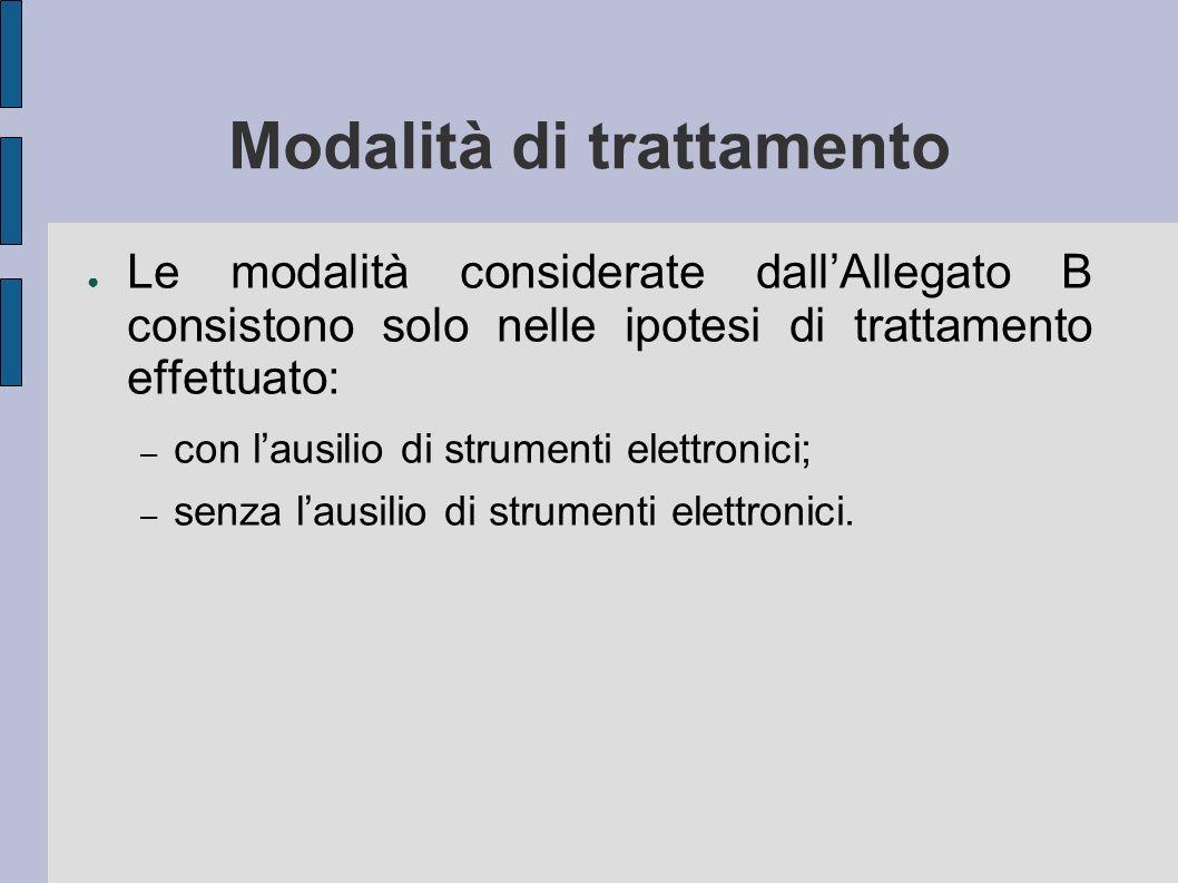 Modalità di trattamento Le modalità considerate dallAllegato B consistono solo nelle ipotesi di trattamento effettuato: – con lausilio di strumenti elettronici; – senza lausilio di strumenti elettronici.